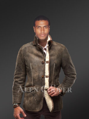 warm vintage shearling coat with leather trim accents for men new