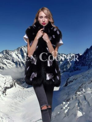 Beautiful mid-length real fox fur real warm winter vest for women in black