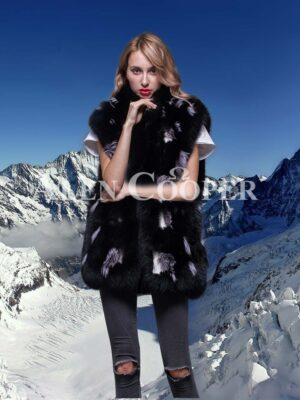 Beautiful mid length real fox fur real warm winter vest for women in black