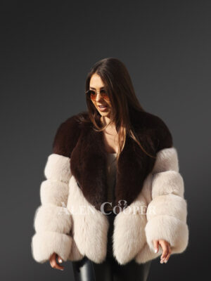 Bi-color oversized real fox fur super warm and comfortable winter coat for women new