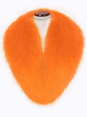 Bright orange detachable real fox fur collar with incredible warmth