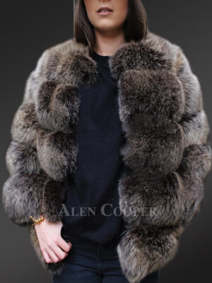 Classic real fox fur super warm paragraph winter coat for women in grey New