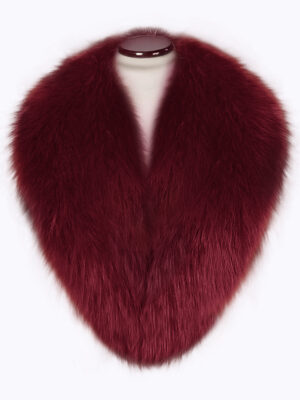 Detachable real warm real fox collar in wine