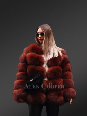 High neck soft and warm real fox fur paragraph winter coat for women new