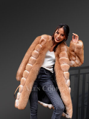 Incredible warm mid-length real fox fur ancient style winter coat for women new views
