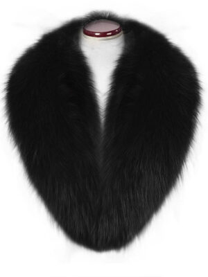 Incredible warm real fox fur collar in black
