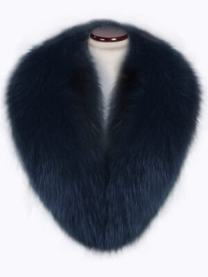 Lightweight navy fox fur collar with amazing warmth