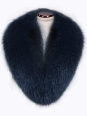 Lightweight navy fox fur collar with amazing warmth
