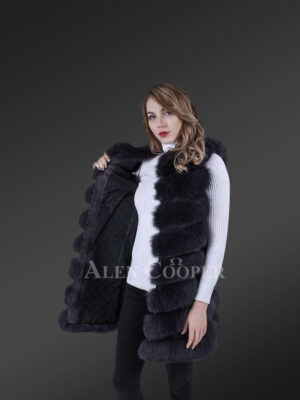 Long and stylish real fox fur paragraph winter coat for women new