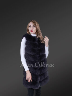 Long and stylish real fox fur paragraph winter coat for women new view