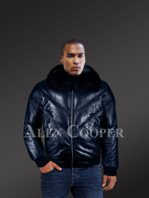 Men's super stylish and classic real leather v bomber jacket with navy crystal fur collar model