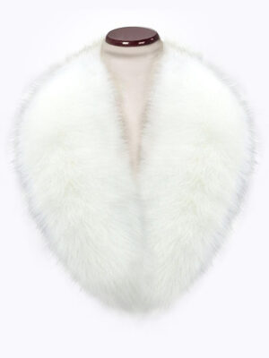 Snow white amazing warm real fox fur collar