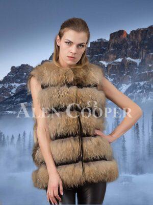 Super stylish genuine fox fur 5 rows paragraph winter vest for women