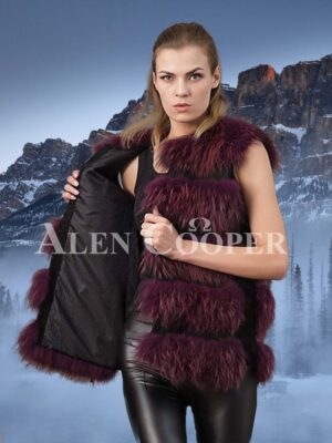Trendy real fox fur 5 rows paragraph winter vest in wine for women