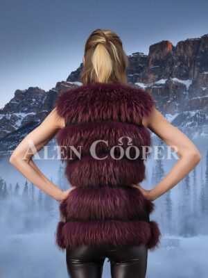 Trendy real fox fur 5 rows paragraph winter vest in wine for women back side view