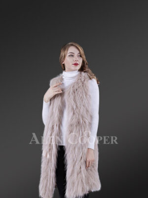 Women's mid-length real warm and true stylish raccoon fur winter outerwear White