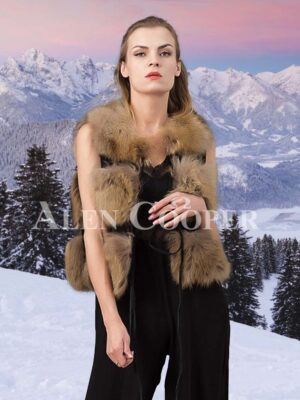 Women's out of the box super warm three paragraph real fox fur winter vest