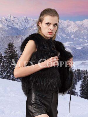 Women's super attractive coal black real fox fur paragraph winter vest