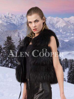 Women's super attractive coal black real fox fur paragraph winter vest side view