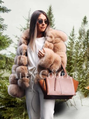 Women's super stylish paragraph real fox fur winter outerwear with hood in coffee