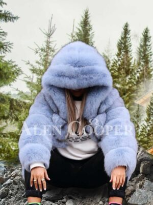 Women's super stylish paragraph real fox fur winter outerwear with hood light blue