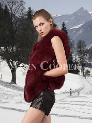 Women's super stylish v ending 4 paragraph real fox fur real warm winter vest