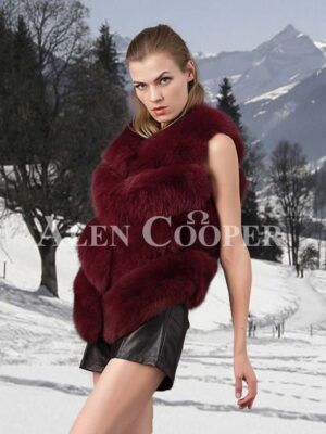 Women's super stylish v ending 4 paragraph real fox fur real warm winter vest side view