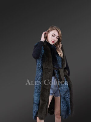 Women long and stylish bi-color real fur winter coat with mid belt in navy
