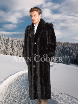 Authentic mink fur super warm full length overcoat in glossy black for men