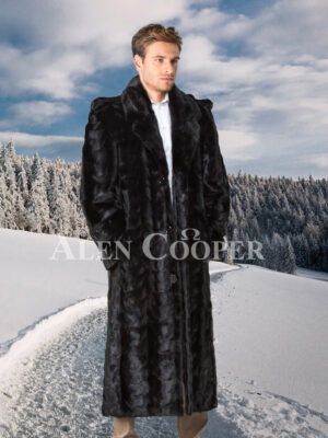 Authentic mink fur super warm full length overcoat in glossy black for men's
