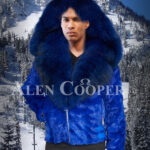 Bright blur real mink fur short winter jacket with detachable roomy hood and collar