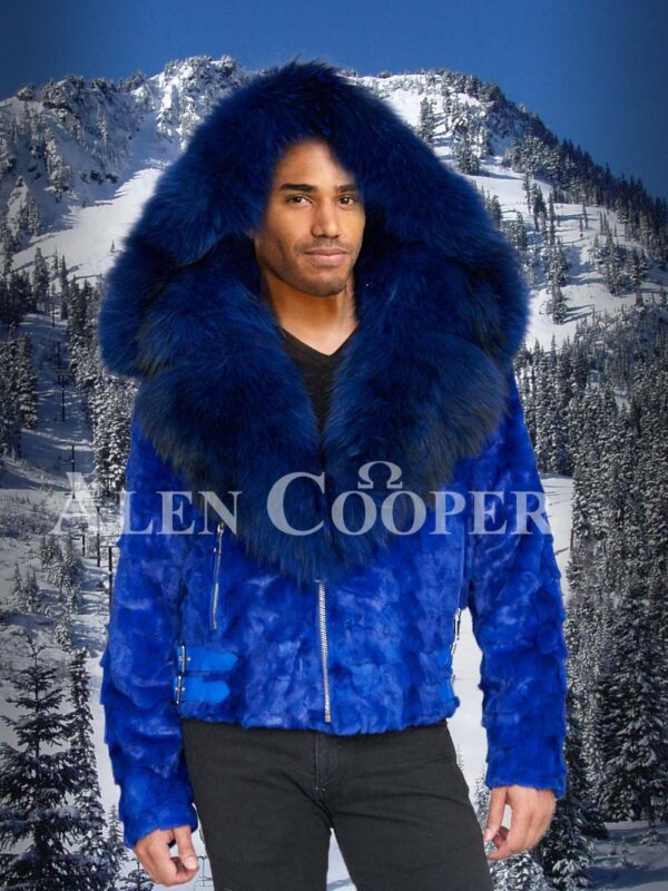 Bright blur real mink fur short winter jacket with detachable roomy hood and collar for Men