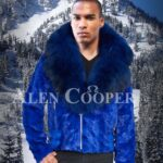 Bright blur real mink fur short winter jacket with detachable roomy hood and collar for mens