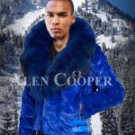 Bright blur real mink fur short winter jacket with detachable roomy hood & collar