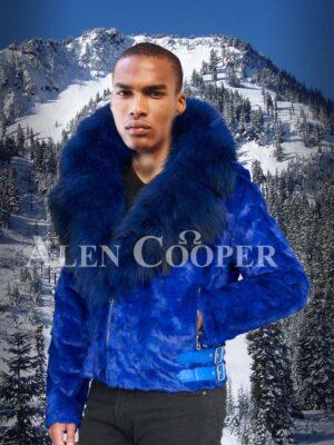 Bright blur real mink fur short winter jacket with detachable roomy hood & collar