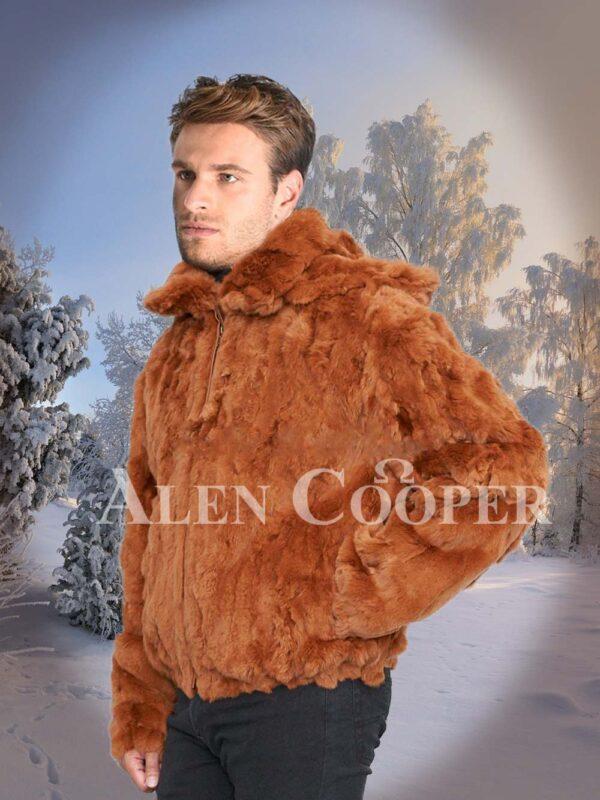 Caramel brown real rabbit fur incredible warm winter bomber jacket for men