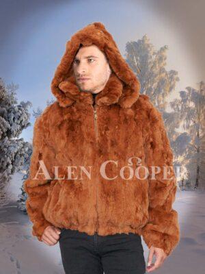 Caramel brown real rabbit fur incredible warm winter bomber jacket for men's
