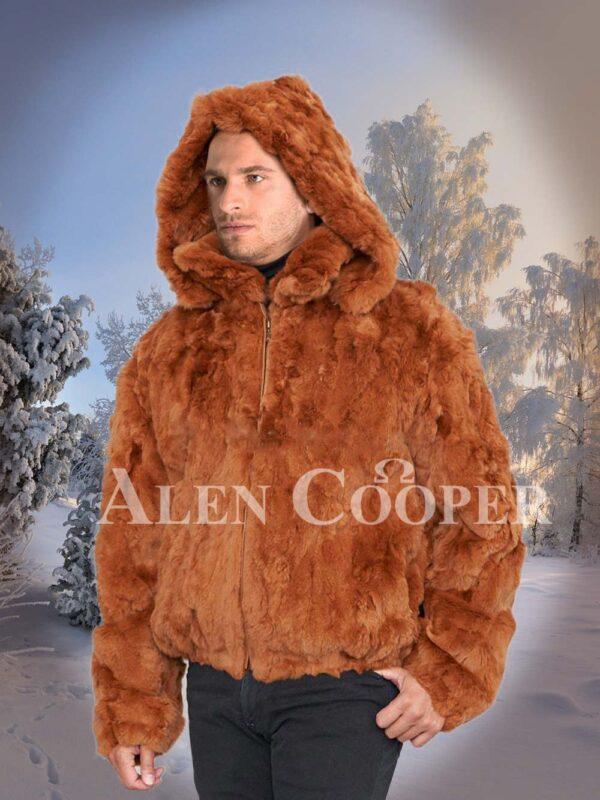 Caramel brown real rabbit fur incredible warm winter bomber jacket for mens