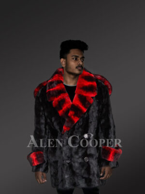 Glossy mink fur warm winter coat with red-black striped collar and wrists new