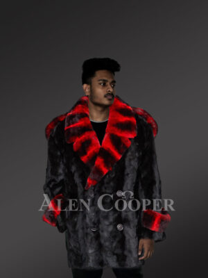 Glossy mink fur warm winter coat with red-black striped collar and wrists new view