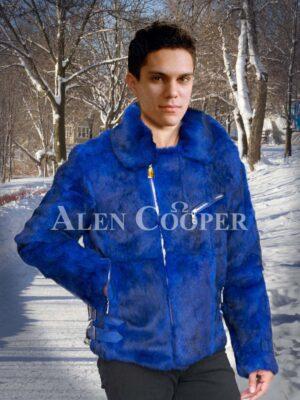 Men's amazing full sleeve lapel collar styled real rabbit fur winter outerwear