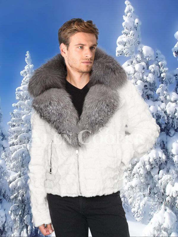 Men's amazing snow white mink fur warm winter jacket with silver fox fur trim collar