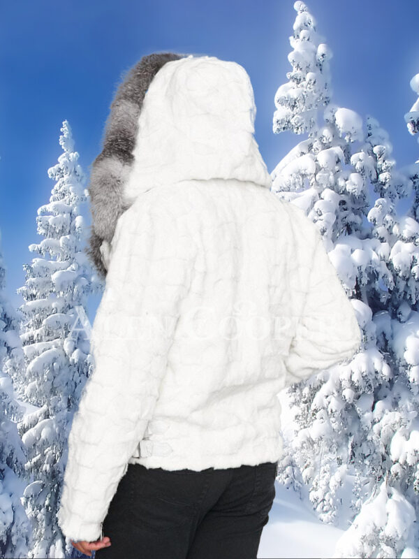 Men's amazing snow white mink fur warm winter jacket with silver fox fur trim collar back side view
