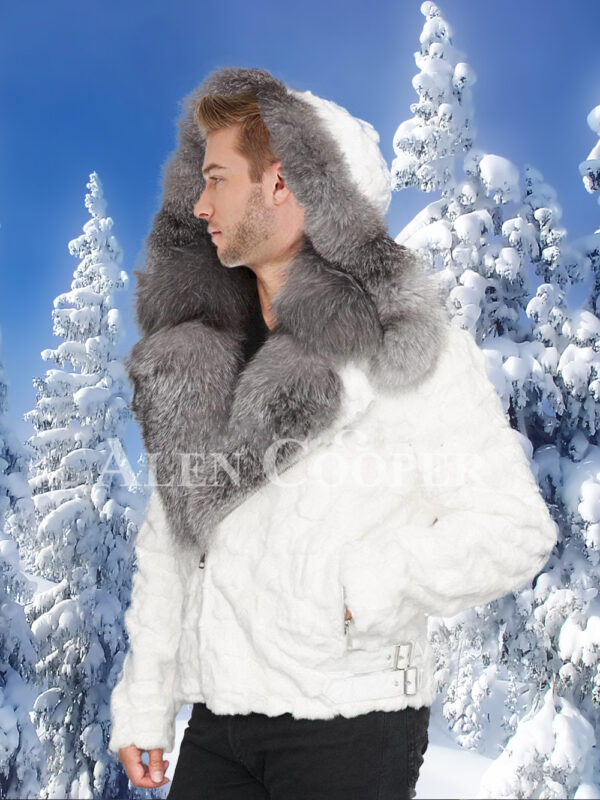 Men's amazing snow white mink fur warm winter jacket with silver fox fur trim collar side view