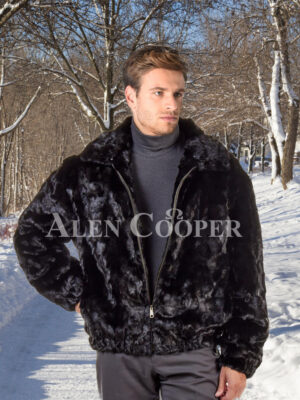 Men's black real mink fur warm winter bomber jacket with protective collar