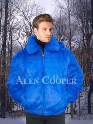 Men's bright blue real rabbit fur mid-length winter jacket with roomy hood