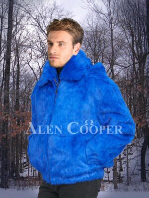 Men's bright blue real rabbit fur mid-length winter jacket with roomy hood side view
