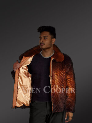 Men's casual whisky ombre stylish warm winter real mink fur bomber jacket new views
