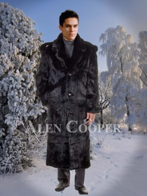 Men's classy full length real rabbit fur wide collar overcoat in black