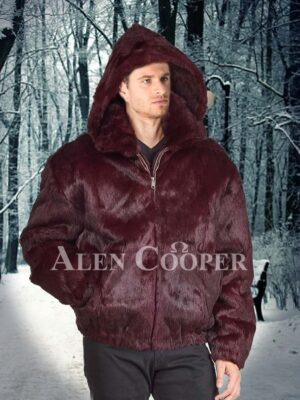 Men's classy super soft and supreme warm rabbit fur with collar & hood in burgundy